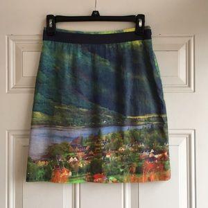 Anthropologie hillside print pencil skirt
